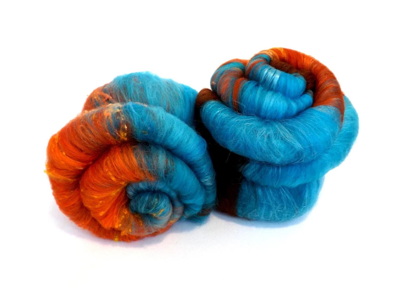 Spinning batts - Merino Wool - Tussah silk - Noil - 100g - 3.5oz - Turquoise - Blue - Orange - COOL BEANS - nunoco