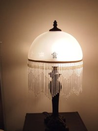 Victorian Style Lamp with Frosted White Glass Shade with Glass