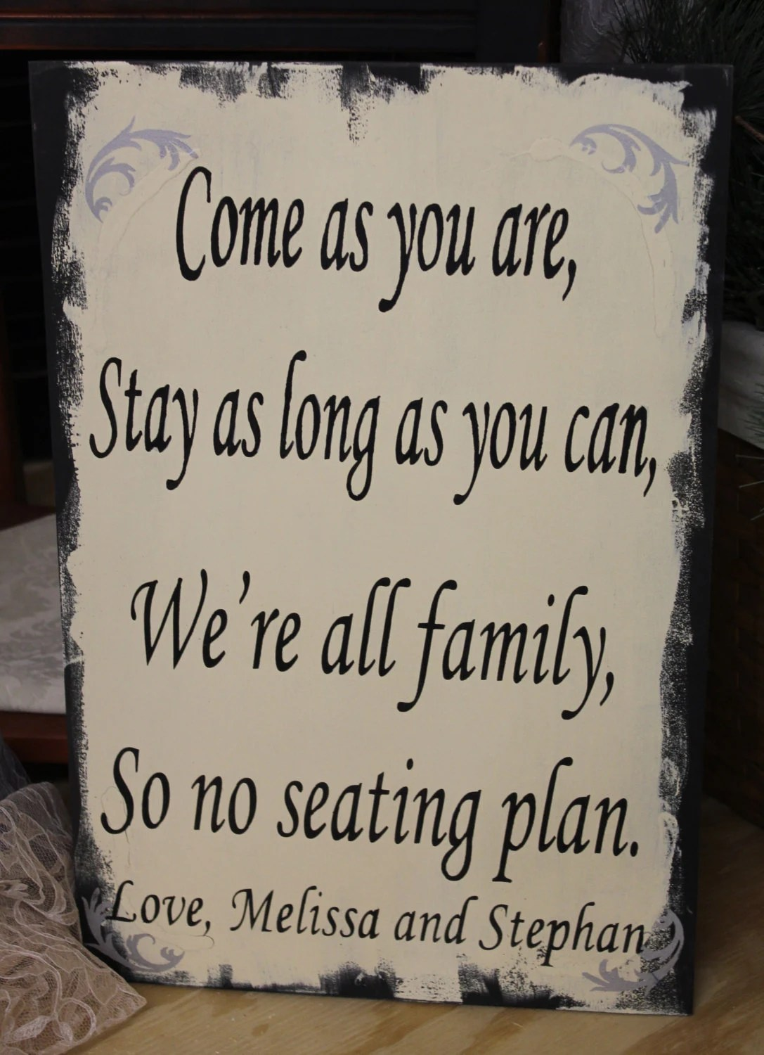 Wedding signs Reception tablesSeating Plan Come as