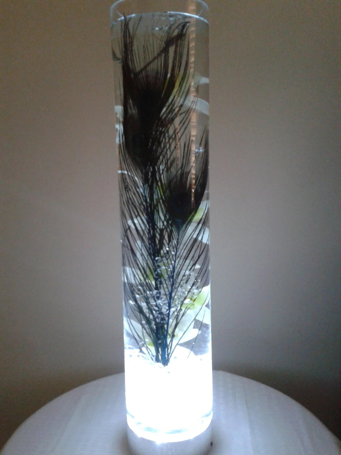 Peacock feathers in a glowing vase filled with water and white