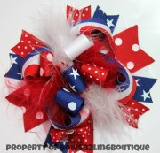 4th of july hair bow red white
