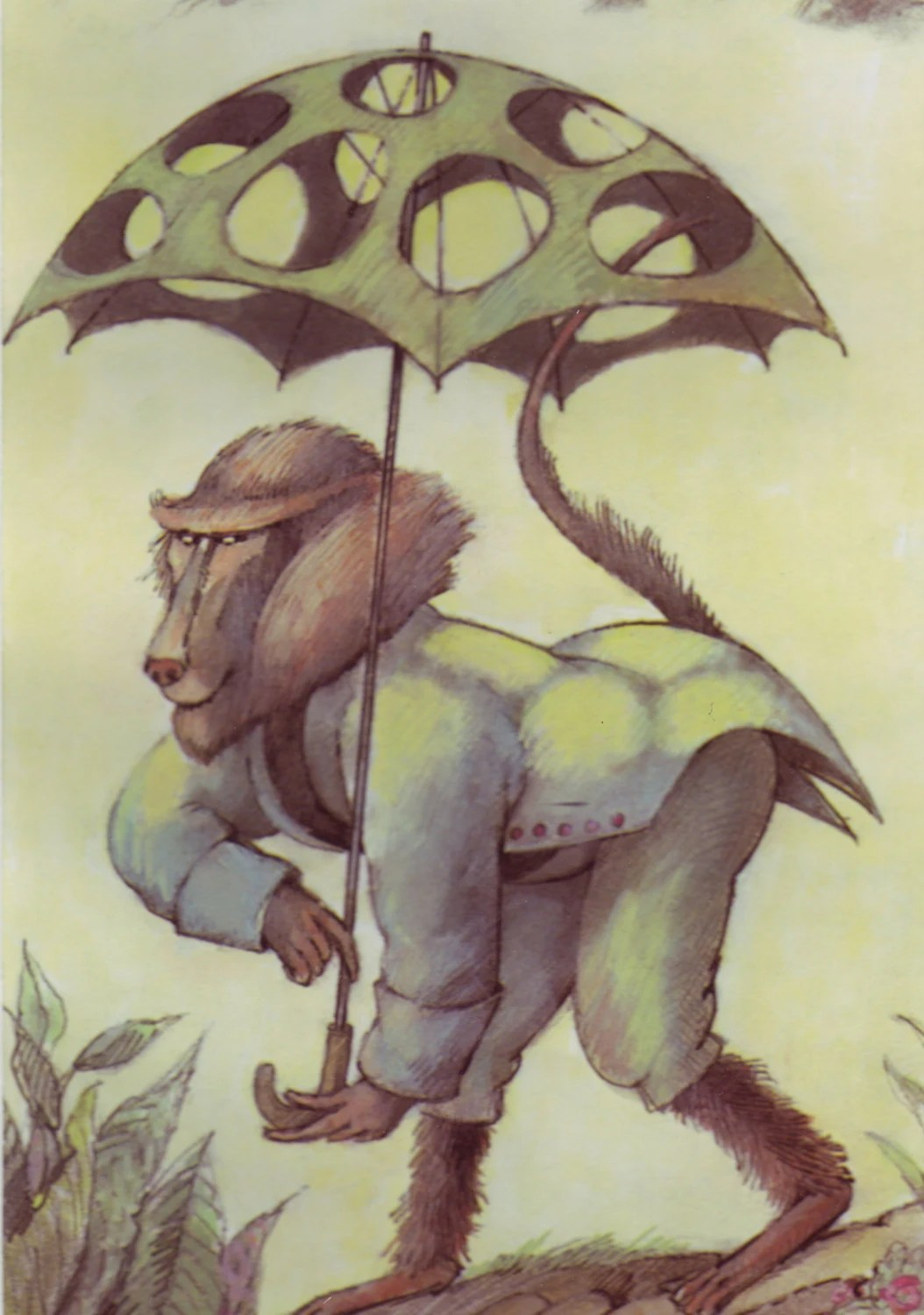 Vintage Childrens Print Fairy Tales Fables Baboon Umbrella