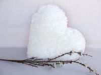 White Heart Decorative Pillow Faux Fur Cushion Wedding