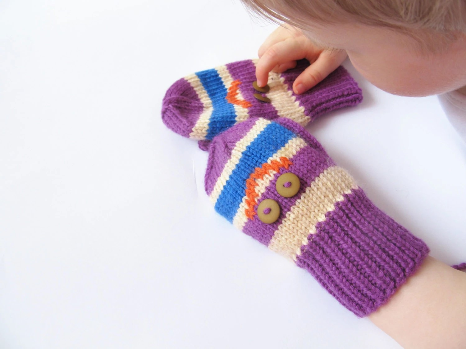 Merino Wool Mittens for Baby - Knitted Super Soft Merino Wool Mittens for Kids - Purple Baby Mittens - Gift for Children - Made to Order - Junikid