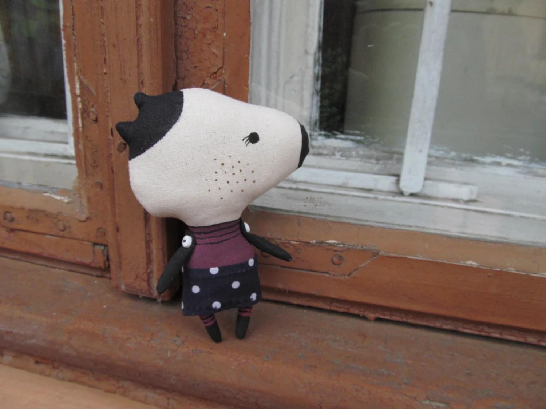 Minimalist doll Snoopy. Happy joyful dog. Decor Animal. Rag stuffed cloth art doll animal.
