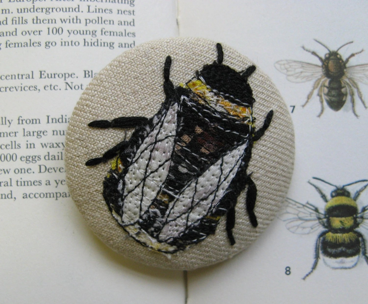 bumble bee brooch cottage chic