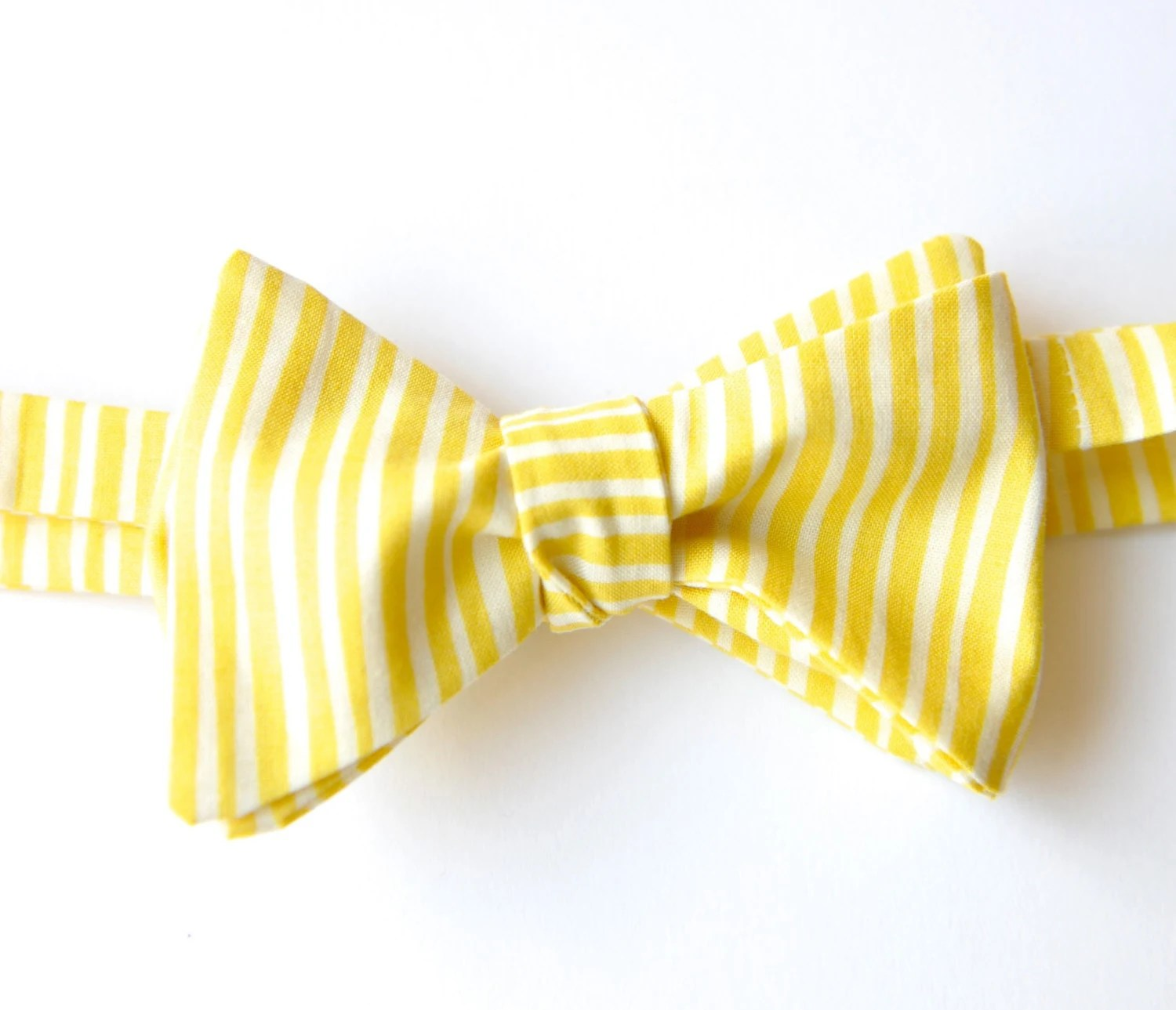Yellow Summer Bow Tie // Handmade, Adjustable, Traditional Selftie - AtelierSalter