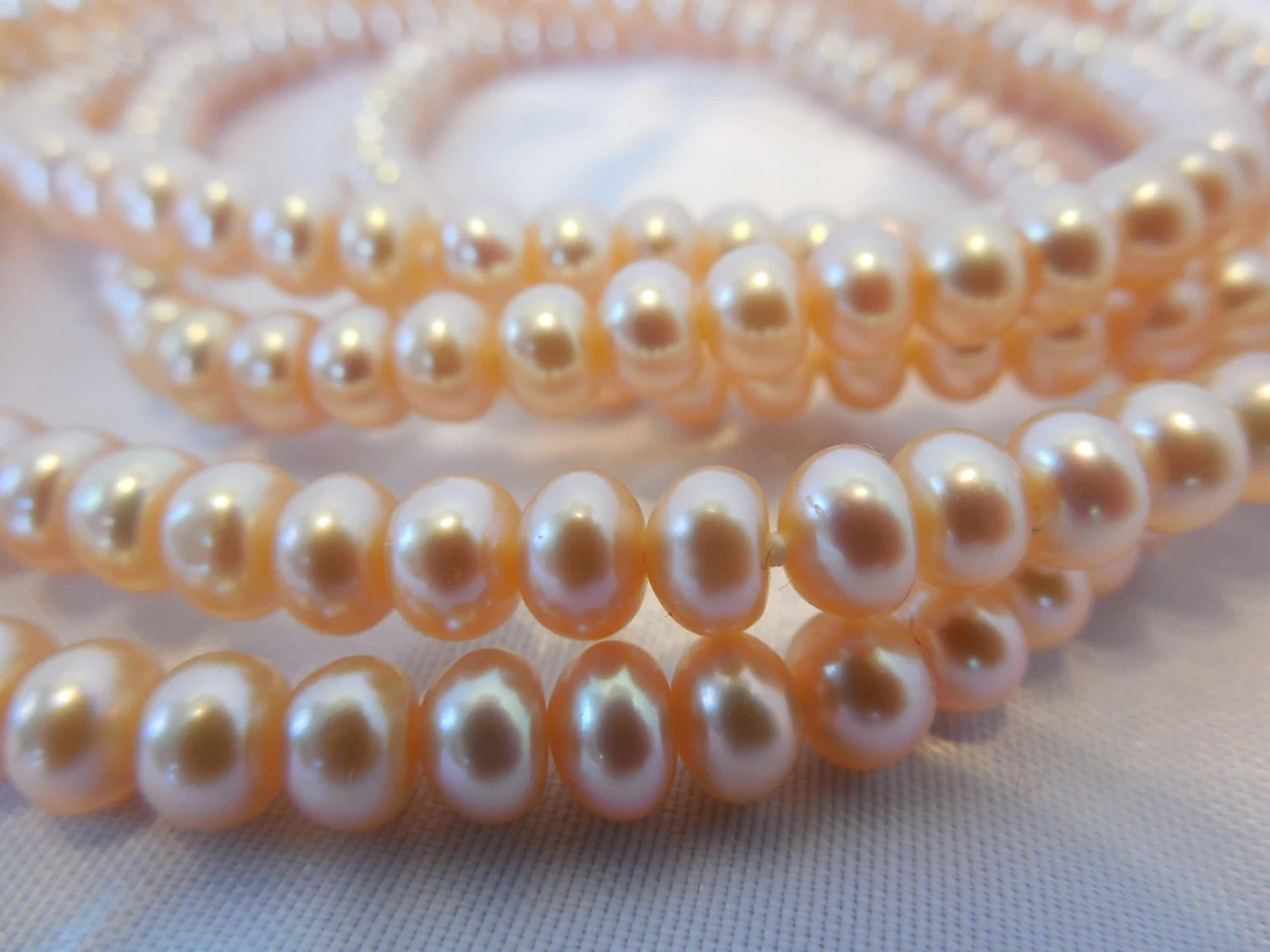 Beautiful Barely Pink Baroque Pearl Necklace - MaryElainesVintage