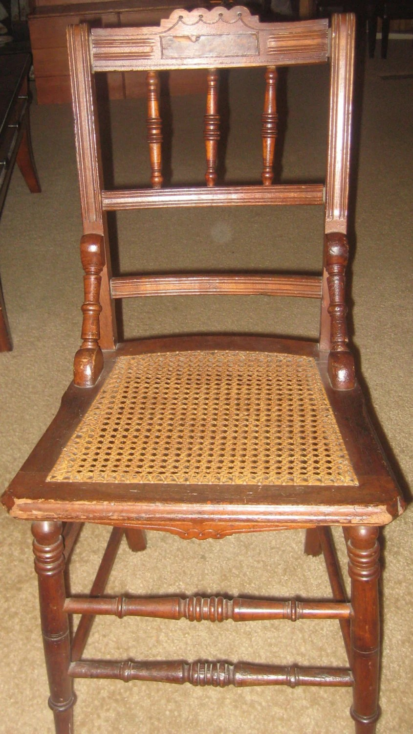 how to cane a chair and half glider rocker items similar antique eastlake style spindle back bottom on etsy