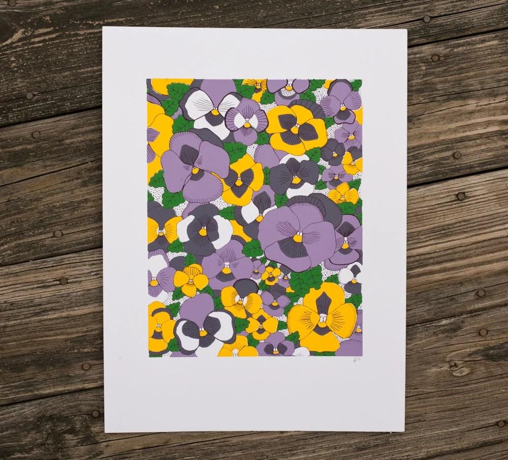 pansies flower art print screenprint - exit343design
