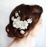 white flower hair bridal