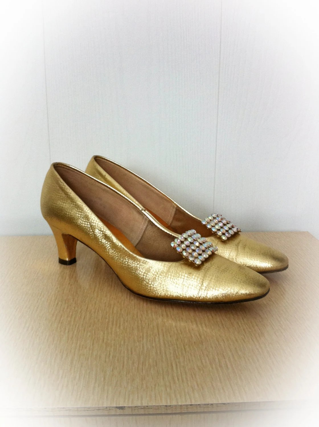 Vintage 1970s Shoes Gold Miss Wonderful High Heels with