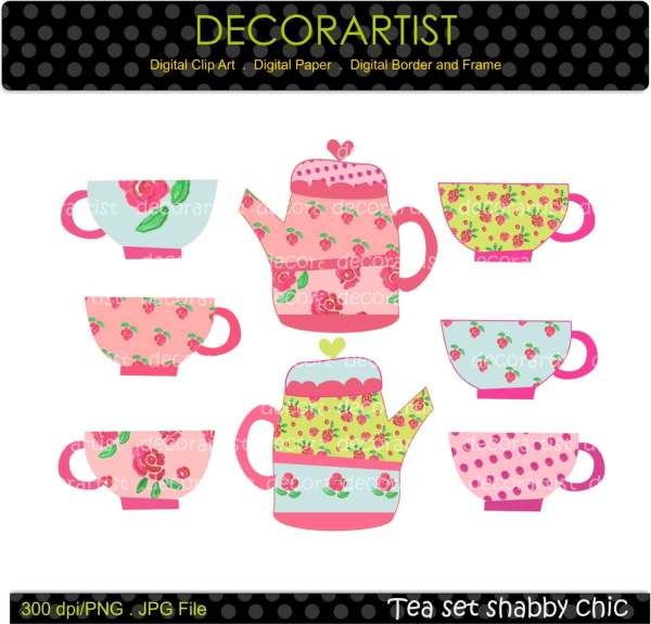 Tea Party Digital Clip Art Decorartistclipart