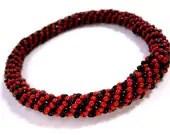 Red and Black Sprial Rocker Bangle Bracelet - MegansBeadedDesigns
