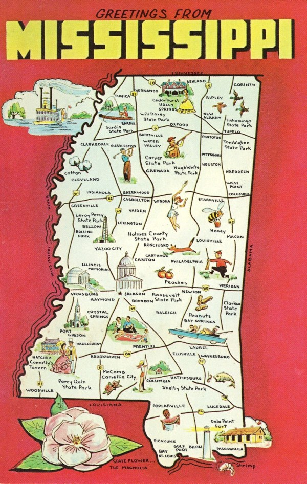 Mississippi State Map Vintage Postcard Greetings From