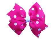 hot pink polka dot hair bow