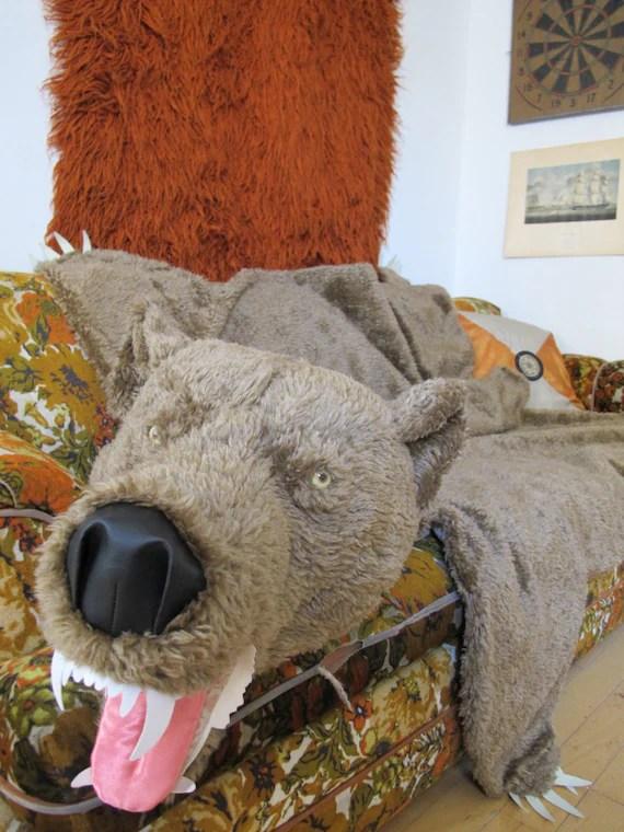 Grizzly Bear Faux Fur Hide Skin Pelt Manly Masculine