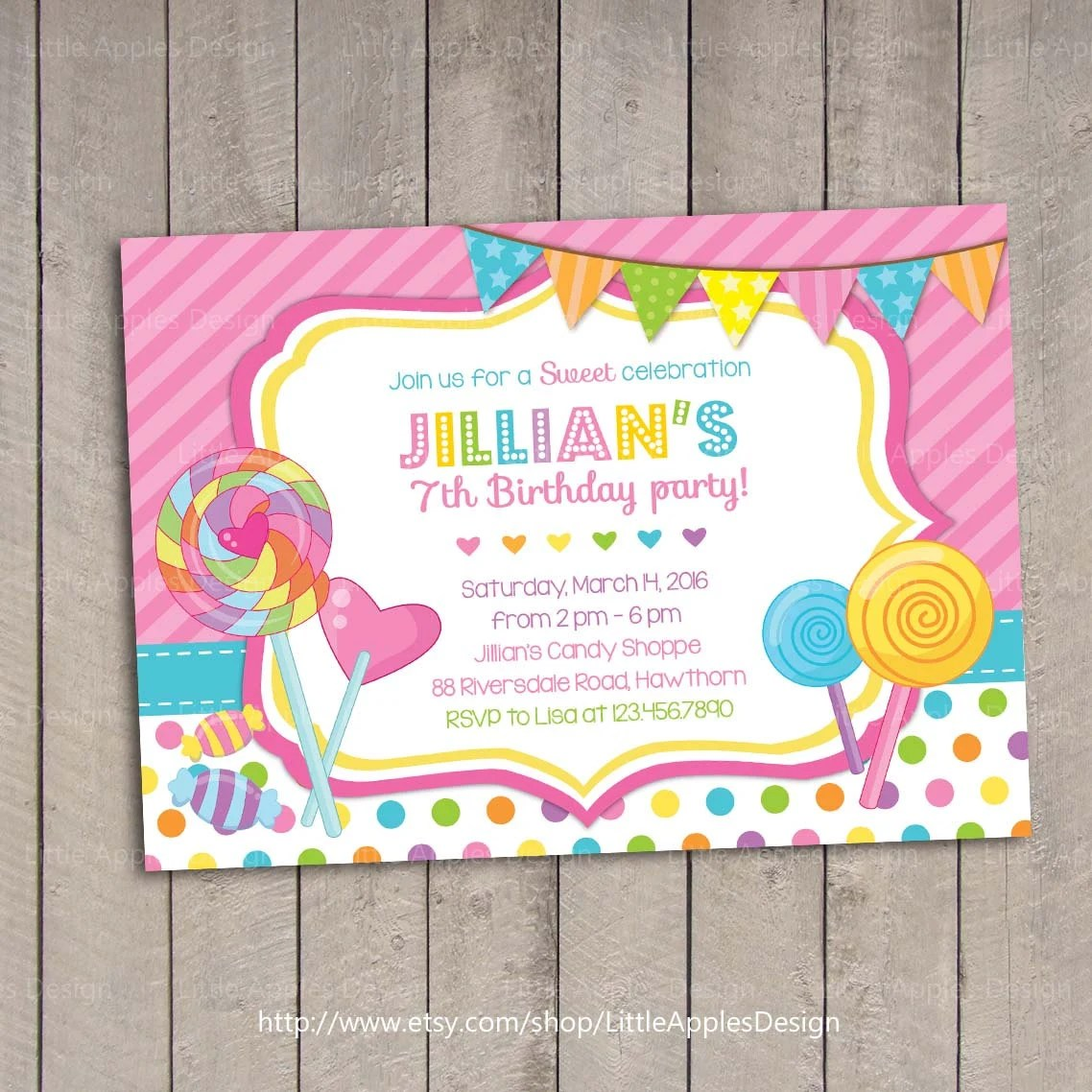Lollipop Invitation Candyland Invitation Candyland