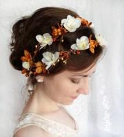fall wedding flower crown autumn
