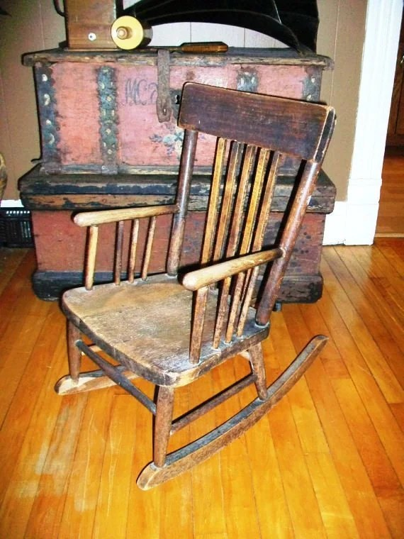 Vintage Childs Rocking Chair Wooden Country Antique