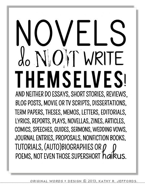 Novel Writing Quote Print Poster English by thedreamygiraffe