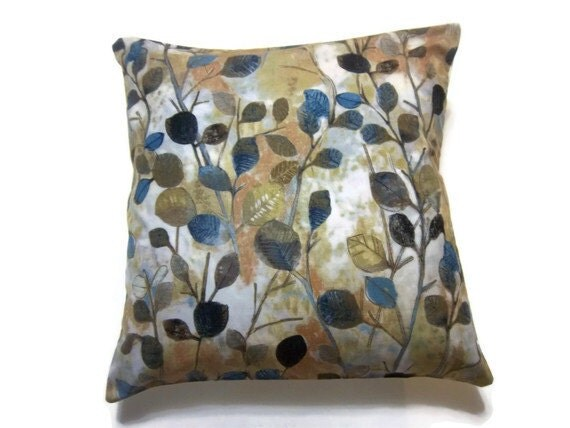 Two Midnight Blue Gold Navy Blue Brown Rust Pillow Covers