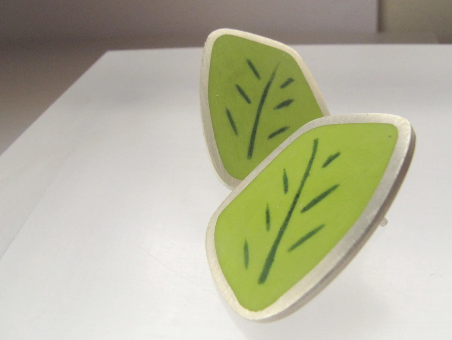 Geometric Lime Green Earring - Stud - Resin & Silver Jewelry - Leaf - QuercusSilver