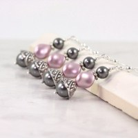 Dusty Rose Earrings Gray Pearl Earrings Bridal Earrings