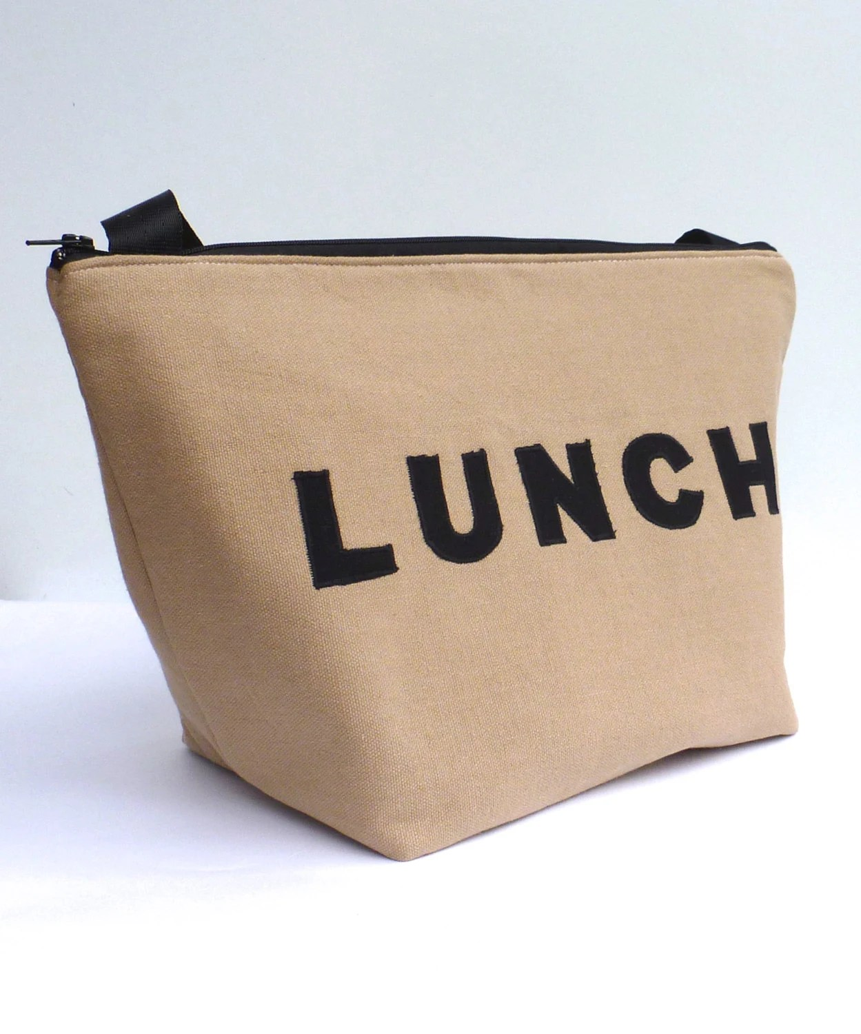 Insulated Lunch Bag Tote  Eco Friendly Zip Brown Lunch Bag Man Lunch Bag by BonTons - BonTons