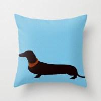 Dachshund on blue Throw Pillow 18X18 Dachshund