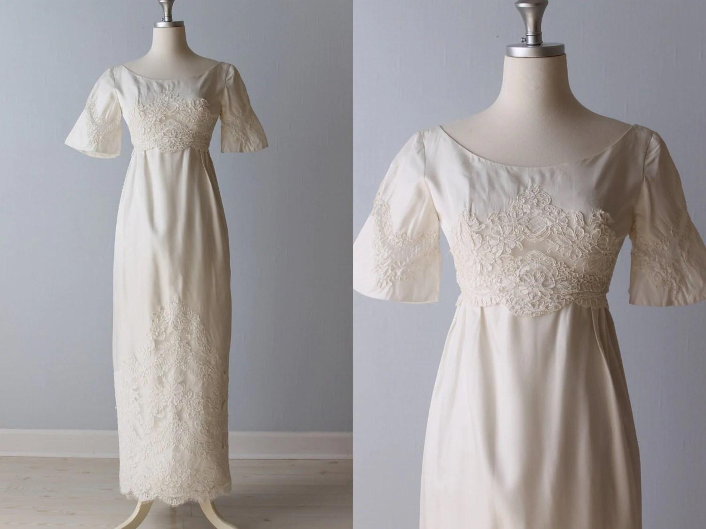 Vintage 1960s Wedding Dress / 60s Bridal Gown / Lace Sheath