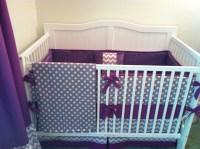 DEPOSIT Modern Gray and Purple Crib Bedding by ...
