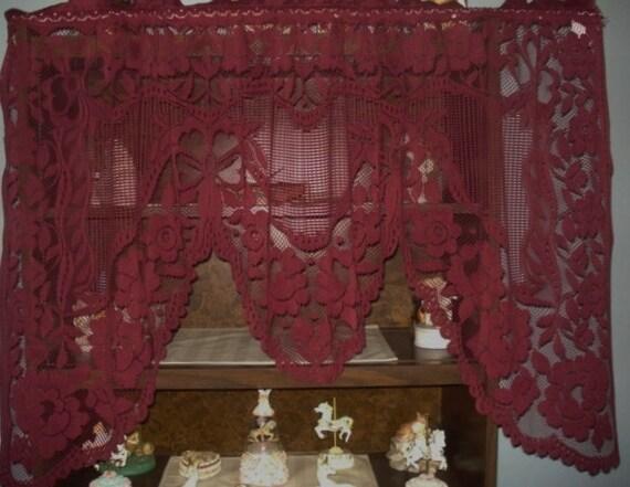 VINTAGE Burgundy Lace Net Floral Scallop Curtain 1 Wide Panel