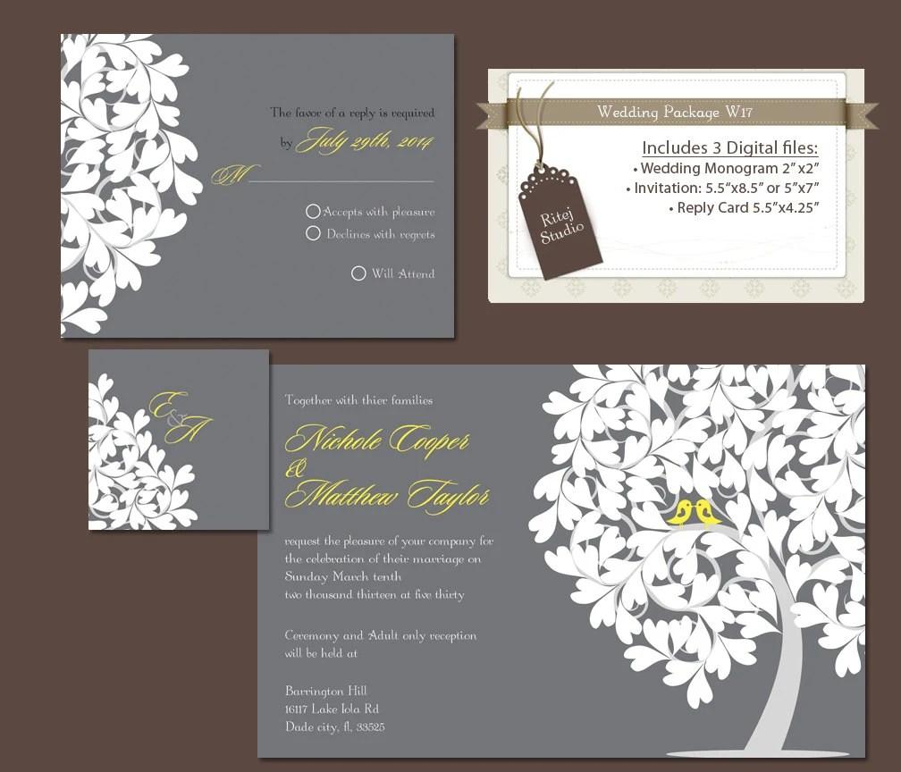 Items similar to Digital Wedding Invitation Package DIY Wedding invitations Reply rsvp Card