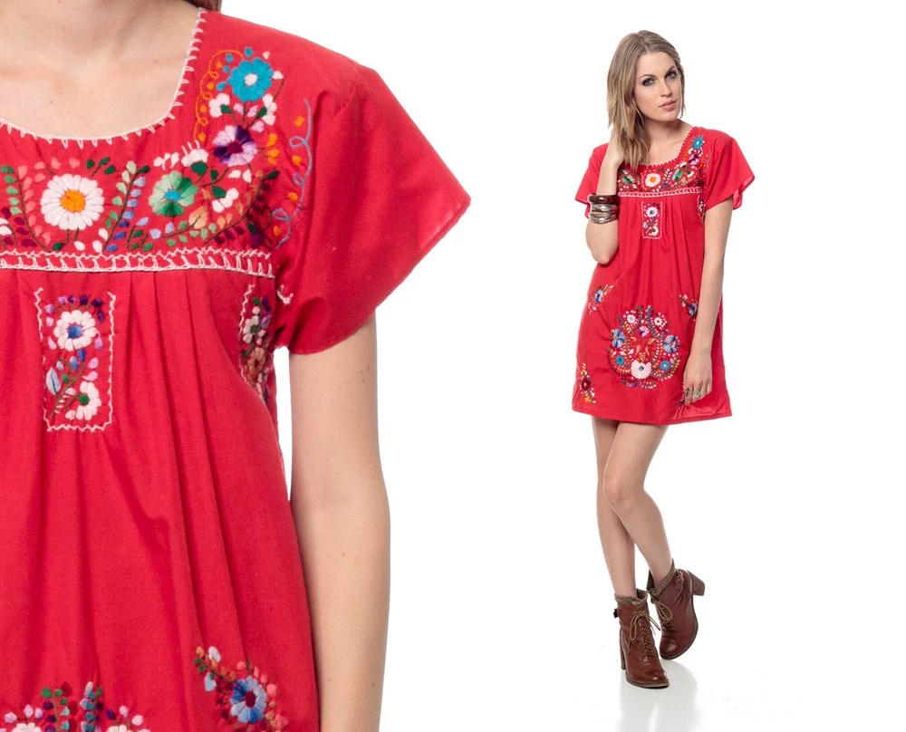 MEXICAN Embroidered Dress Mini Red Cotton Tunic 70s Hippie