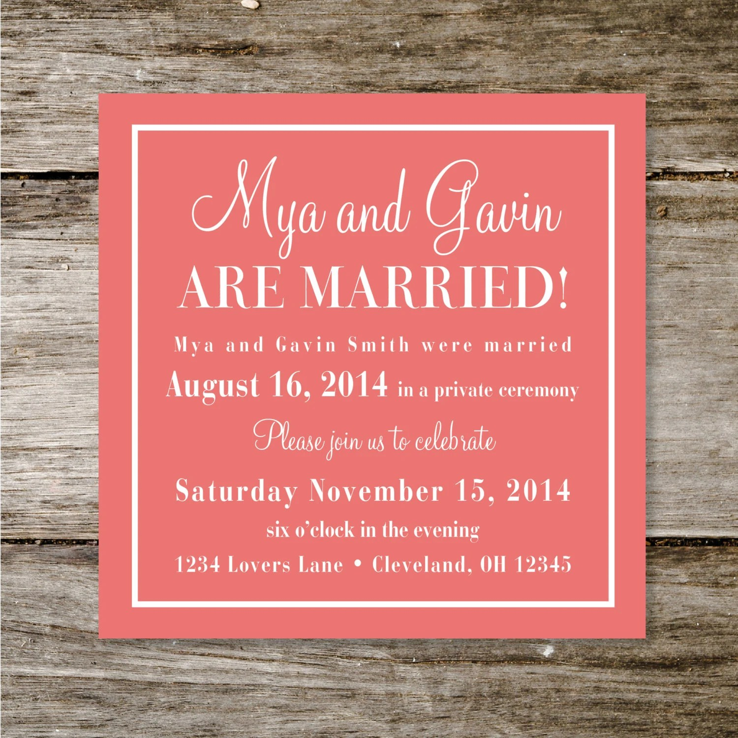 Marriage Announcement Wording