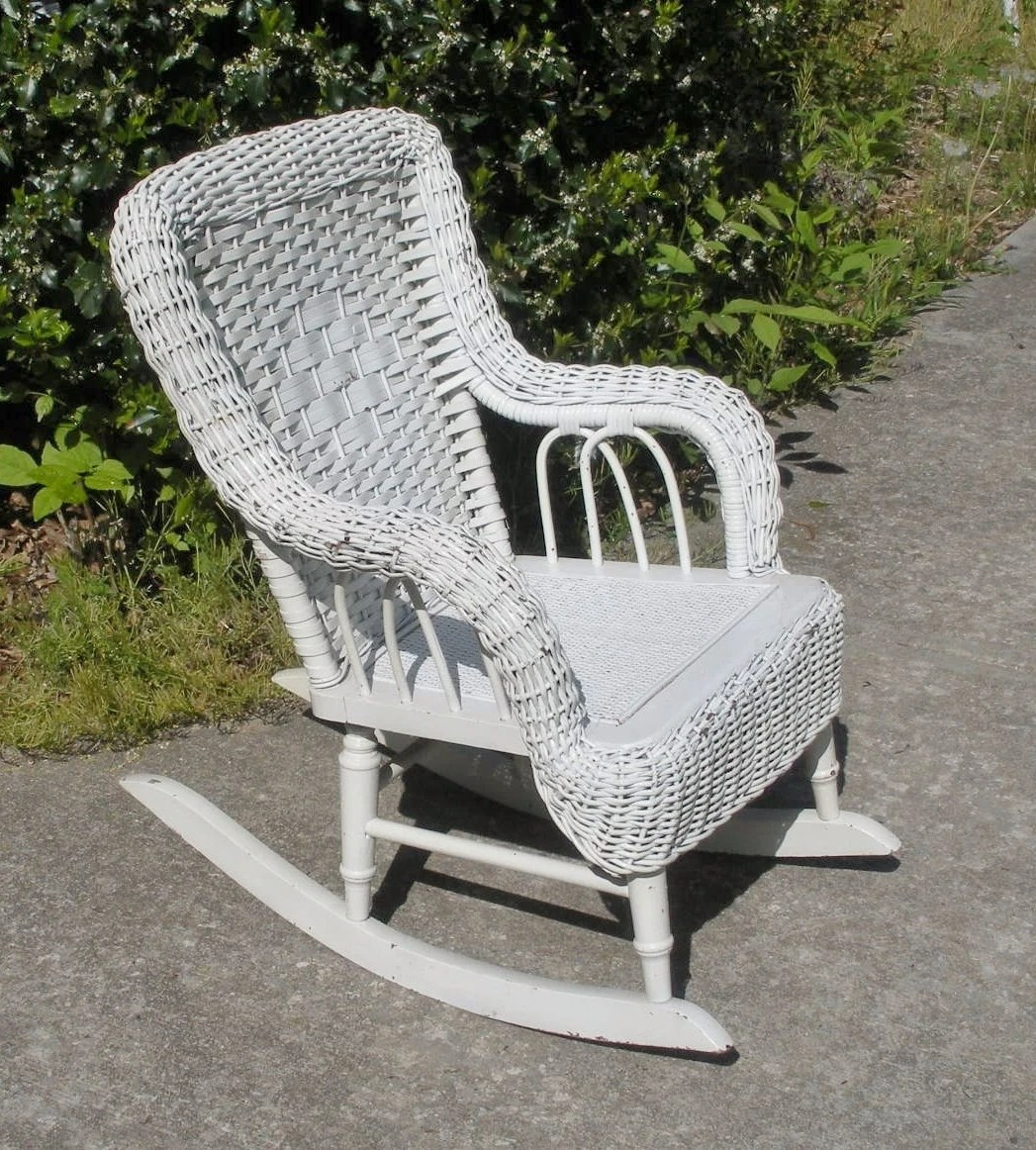 White Wicker Rocking Chair Reserved For Phyllis Vintage White Wicker Childs Rocking