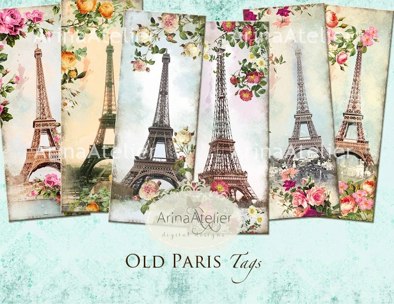 Old Paris Tags Bookmarks Hang Tags Vintage Collage