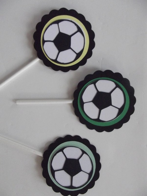 Soccer Sports Cupcake Toppers Baby Shower