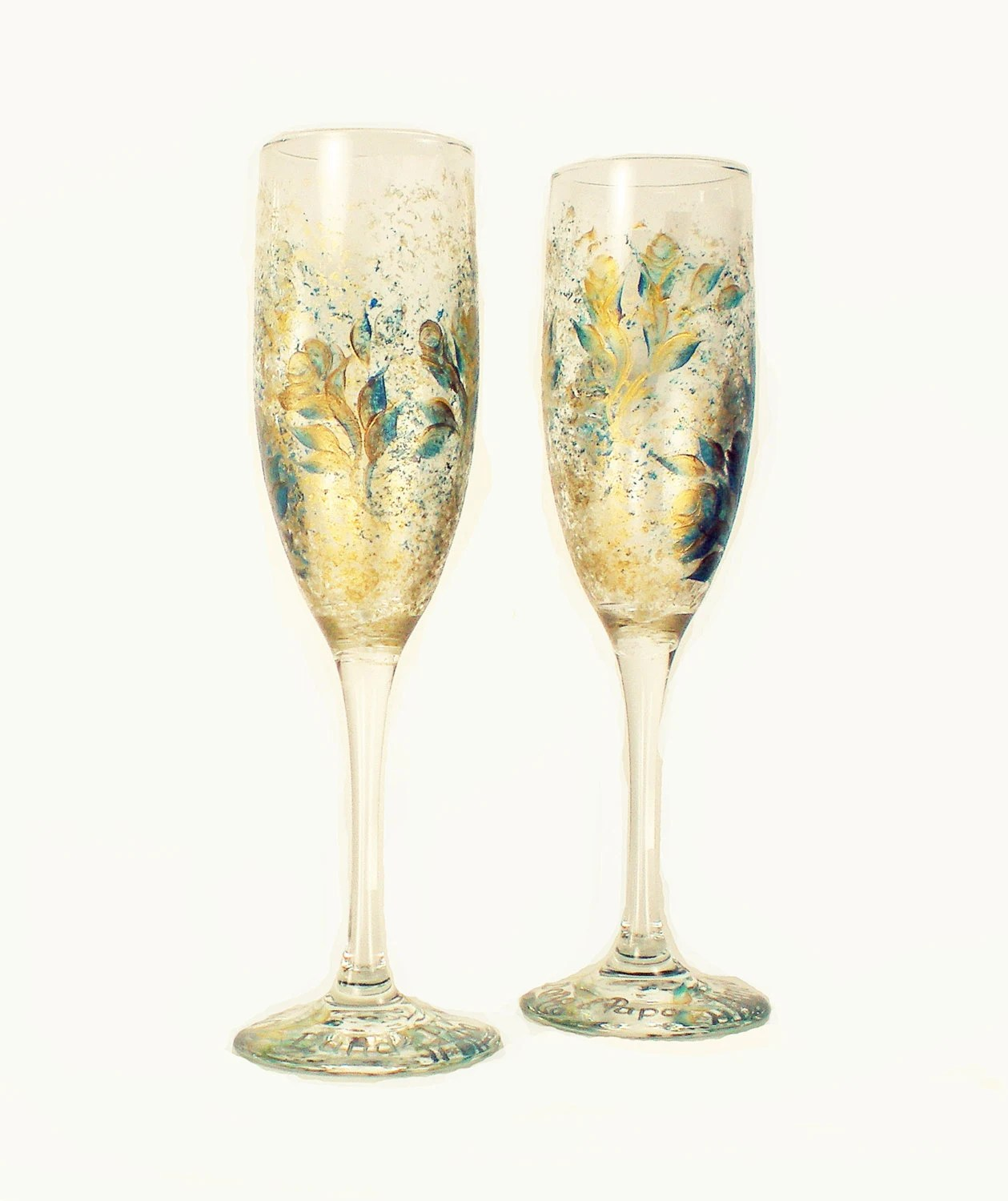 Wedding Toast Champagne Glasses - Hand Painted Teal and Gold Roses, Set of 2 - Anniversary Sparking Wine Glasses flûtes à champagne mariage - HandPaintedPetals