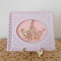 Pearl princess crown art. Mosaic wall art. Pastel by