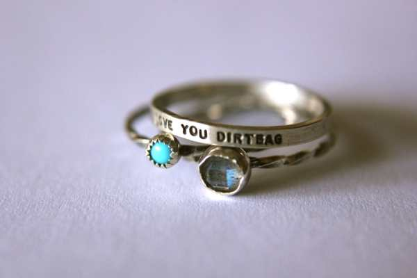 Set Of 3 Rings Personalized Message And Two Gemstones