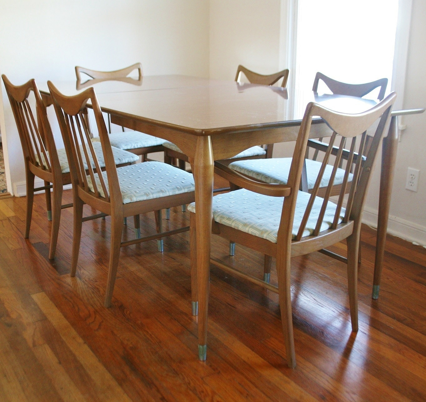 brushed aluminum chairs orthopedic for back pain mid century keller dining set wood and formica by sariloaf