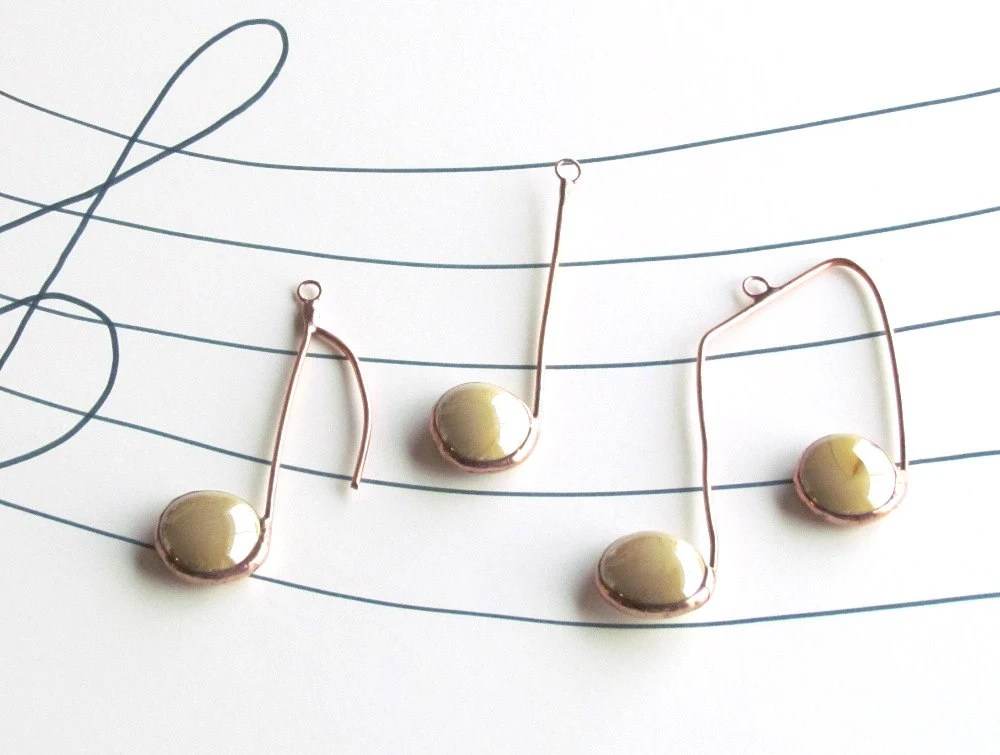 Three Glass Musical Notes Almond Beige Copper Suncatcher Ornaments - SNLCreations