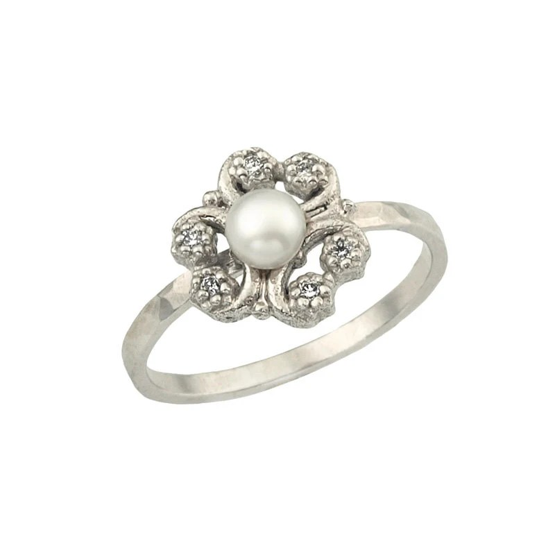 18k Gold Antique Inspired Flower Pearl Engagement Ring - netawolpe