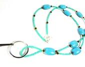 Light Turquoise Blue Lanyard ID Badge Necklace - MegansBeadedDesigns