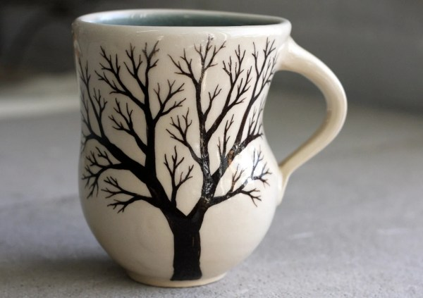Tree Mug Pottery Coffee Cup with hand painted tree in Cream