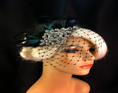 Fascinator, Great Gatsby, Downton Abbey, 1920s Flapper Headpiece, Feather Fascinator, Silver Beaded Art Deco, 1920s Headpiece, Veil