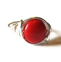 Large Gemstone Ring Red Cocktail Ring Wire Wrapped Jewelry