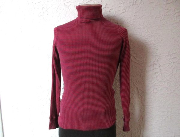 60s Vintage Men' Mod Rib Knit Striped Turtleneck Medium